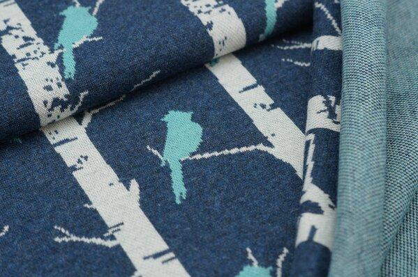 Jacquard-Sweat Mia eisblaue Vögel und off white Bäume auf navy blau Melange