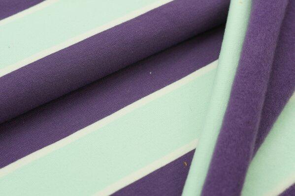 Wintersweat Elli große Streifen lila / off white / hell mint