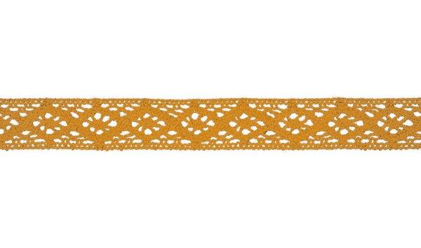 Baumwolle Spitzenborte Häkelborte uni senfgelb 20 mm breit Klöppelspitze