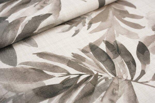 Canvas-Stoff Dekostoff große Blätter Farne hell beige / grau / braun
