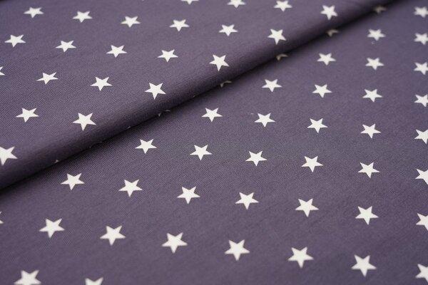 Baumwoll-Jersey weisse Sterne auf dunkelgrau