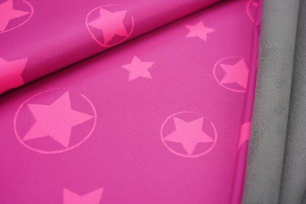 Softshell-Stoff neon Sterne im Kreis rosa pink mit grauer Innenseite