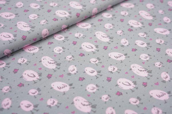 Baumwoll-Sweat kleine Vögel Herzen Punkte Blumen grau / rosa Vogel Tulpen