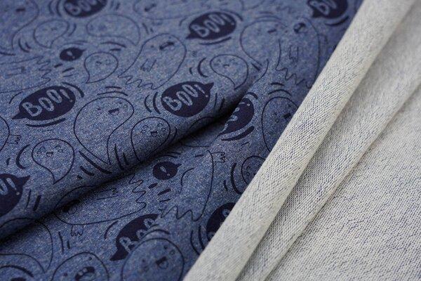 Baumwoll-Sweat Gespenster Geister jeansblau meliert / schwarz