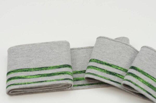 Fertigbündchen Ringelbündchen Streifen und Striche grau meliert / neon grün