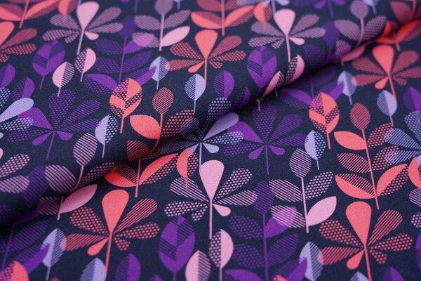 Traumbeere Baumwoll-Jersey Digitaldruck bunte Blätter dunkelblau / lila / altrosa / koralle