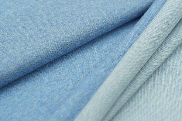 Jacquard-Sweat Mia uni pastell jeansblau Melange / off white