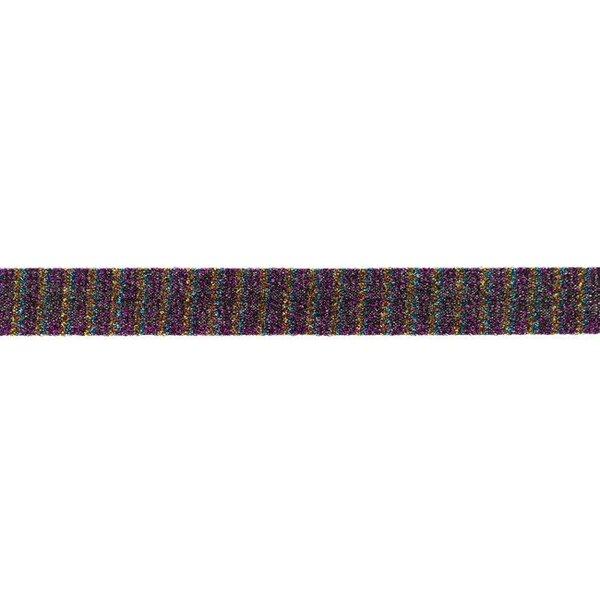 Glitzer Schrägband mit Streifen violett gold rot aqua 20 mm Zierband Glitzerband