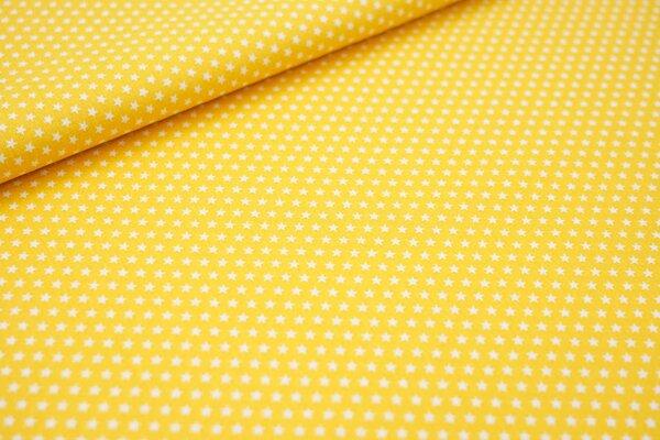 Baumwollstoff Baumwolle senf gelb mit kleinen weißen Sternen