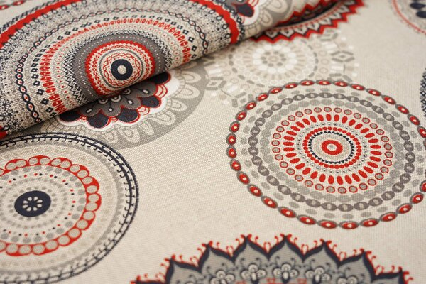 Canvas-Stoff Dekostoff in Leinenoptik Mandala Muster natur / rot / grau / weiß