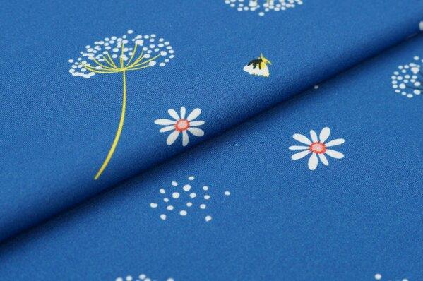 Baumwoll-Jersey Digitaldruck Blumen und Punkte auf taupe blau mit off white