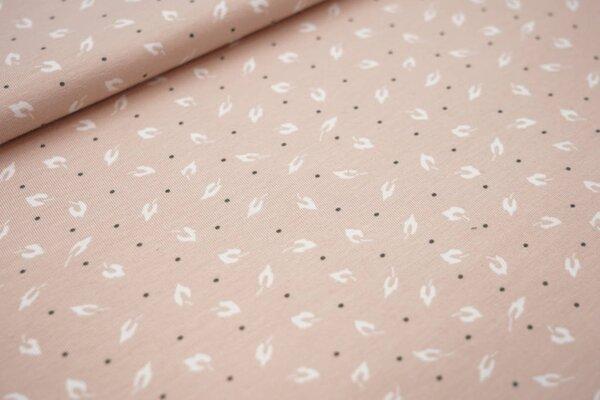Baumwoll-Jersey kleine Blätter und Punkte auf pastellrosa