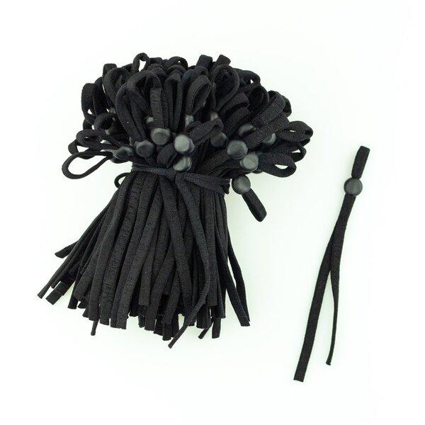 Verstellbares Gummiband für Masken (1 Paar) uni schwarz rund 5 mm elastisch