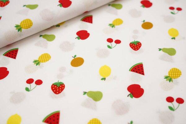 Baumwolle Früchte Erdbeere Kirsche Apfel Melone Ananas Birne auf weiß
