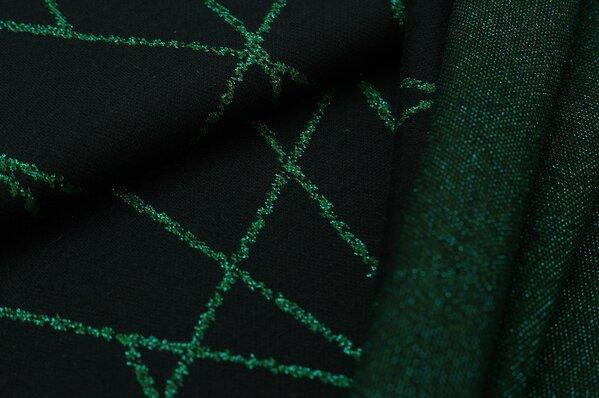 Jacquard-Sweat Ben smaragdgrün Lurex Glitzer Streifen auf schwarz