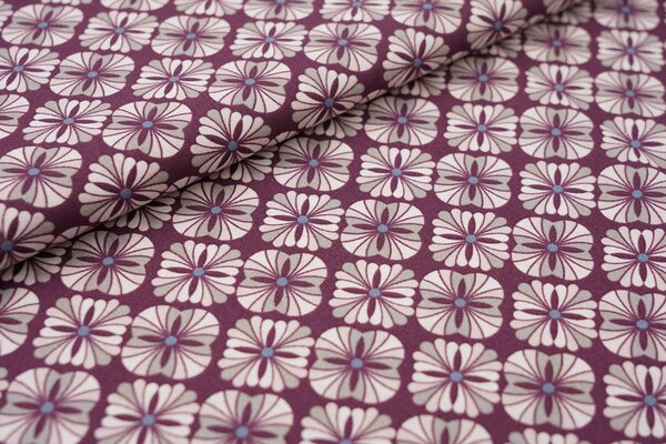 Baumwolle Retro Blumen Muster dunkel aubergine lila / grau / hellrosa