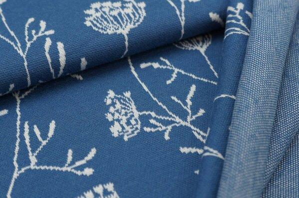 Jacquard-Sweat Ben lange off white Blumen auf taupe blau