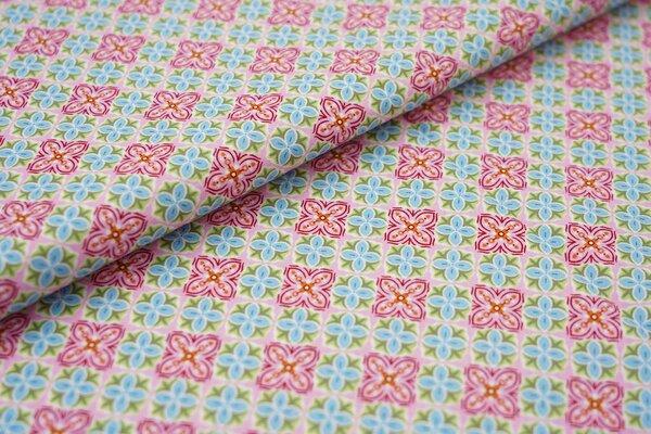 Baumwolle Swafing Julia Retro Kachel Muster mit Blumen rosa / weiß / rot / petrol