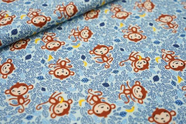 Baumwoll-Jersey Äffchen mit Banane auf hellblau Affe Blätter