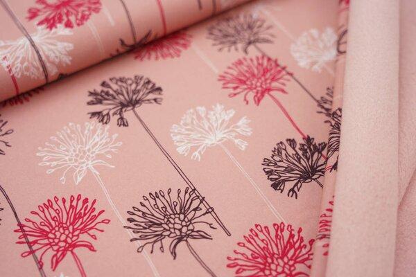 Softshell-Stoff Löwenzahn Pusteblumen auf pastell lachsrosa