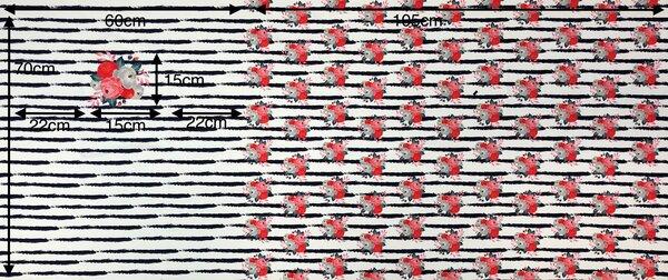 Panel Baumwoll-Sweat Rosen auf Streifen off white / dunkelblau Rapport Digital