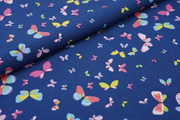 Baumwoll-Jersey bunte Schmetterlinge auf blau