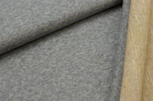 Jacquard-Sweat Mia mittelgrau Melange Uni mit mittelgrau und senf Rückseite