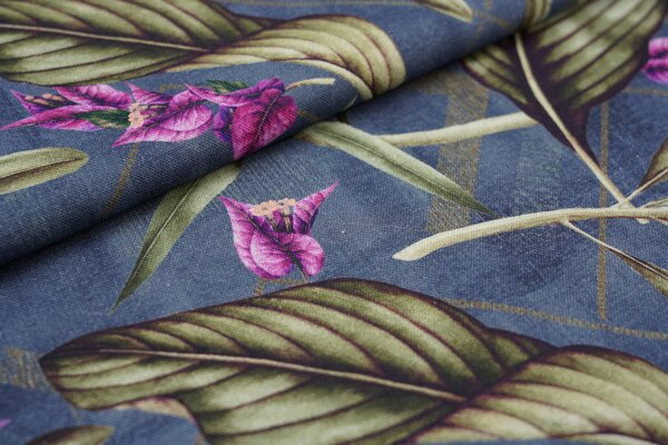 Dekostoff Canvas Digitaldruck Palmenblätter Blumen Pflanzen auf blau