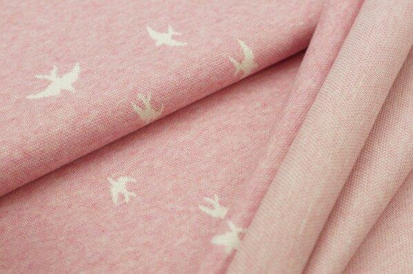 Jacquard-Sweat Mia off white Schwalben Vögel auf pastell pink Melange
