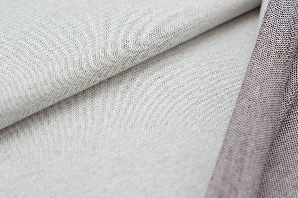Jacquard-Sweat Ben off white Uni mit off white schwarz altrosa Rückseite
