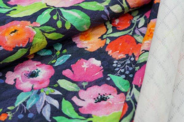 Stepp-Stoff Digitaldruck Aquarell Blüten Blumen Rosen auf dunkelblau / schwarz