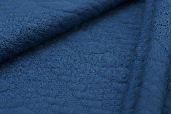 Stepp-Stoff Uni Zopfmuster taupe blau Steppsweat