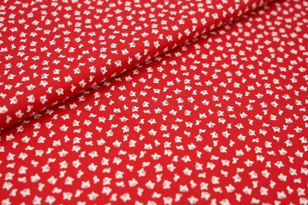 Baumwollstoff Baumwolle rot mit kleinen weißen Schmetterlingen