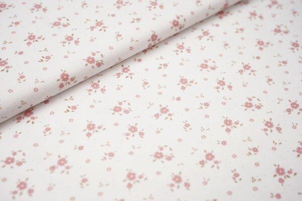 Digitaldruck Baumwoll-Jersey kleine Blumen auf weiß