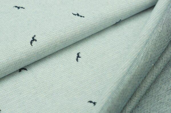 Jacquard-Sweat Ben kleine navy blaue Vögel auf hellblau / off white