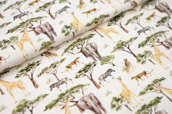 Digitaldruck Baumwoll-Jersey Safari Tiere und Bäume auf weiß Elefant Giraffe Zebra Leopard