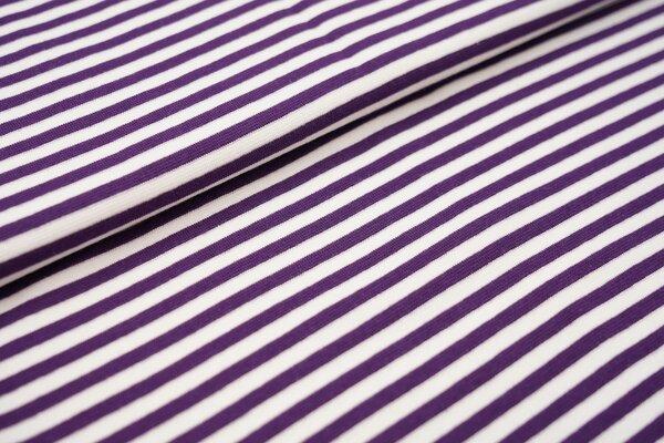 Ringelbündchen glatt Streifen weiss / lila violett