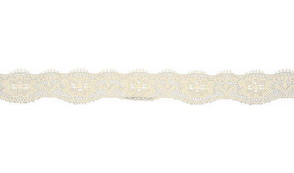 Elastische Spitze mit Blumen uni off white creme 20 mm Spitzenborte Zierband