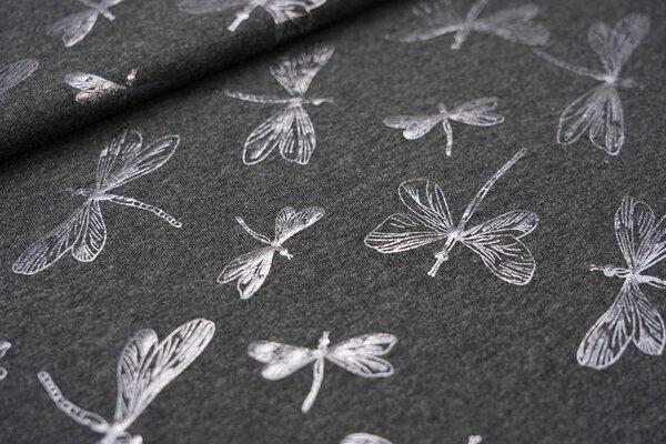 Baumwoll-Jersey Glitzer Libellen auf dunkelgrau meliert