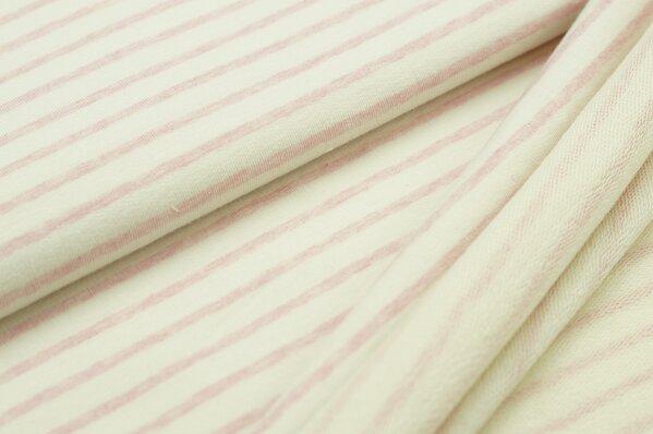 XXL Baumwollsweat Maya Melange Streifen mittel pastell rosa und off white