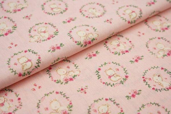 Baumwolle kleine Bärchen im Blumenkreis auf lachs rosa Bären