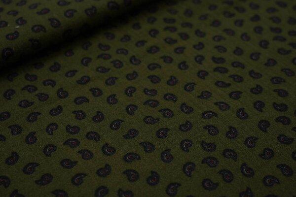 Musselin Stoff Double kleines Paisley Muster auf olivgrün