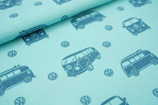 Canvas-Stoff Dekostoff in Leinenoptik VW Bullis Volkswagen Autos eisblau / petrol