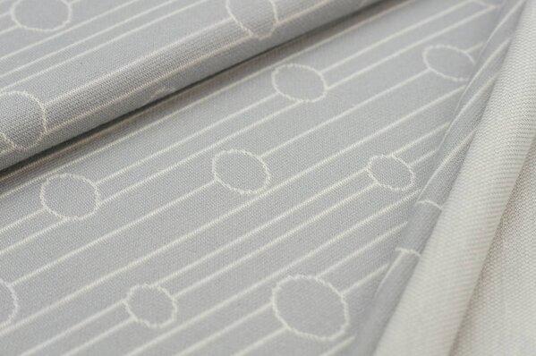 Jacquard-Sweat Ben Kreise auf Linien Streifen hellgrau / off white