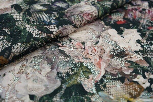 Spitze mit Digitaldruck Blumen Muster auf schwarz Spitzen-Stoff