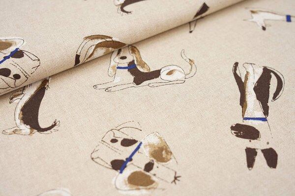 Canvas-Stoff Dekostoff in Leinenoptik Hunde natur braun blau weiß