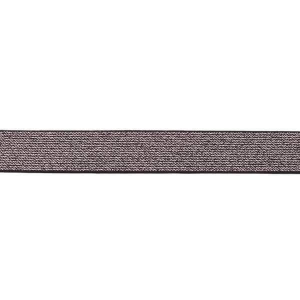Gummiband mit silber Glitzer schwarz 25 mm