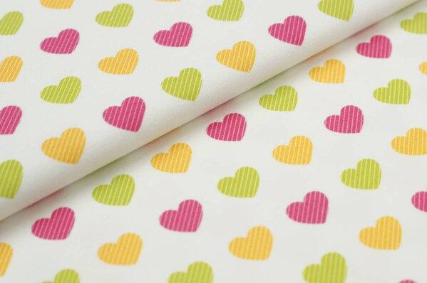 Baumwoll-Jersey Digitaldruck Herzen mit Streifen off white pink gelb hellgrün