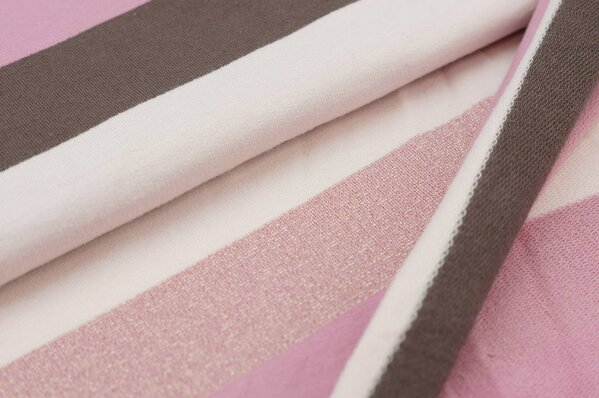 Sweat Marie Blockstreifen gold Lurex Glitzer altrosa taupe braun pastell rosa