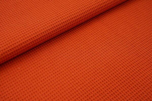 Waffelpiqué Waffelstoff uni rostorange Baumwollstoff mit mini Waffelmuster